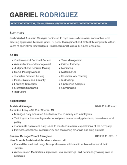Assistant Manager resume example Michigan