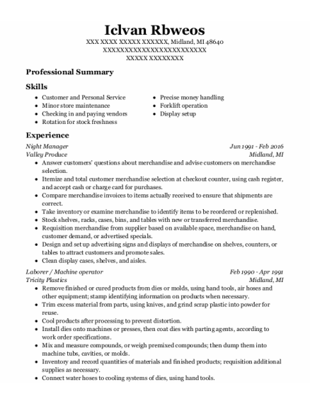Night Manager resume sample Michigan
