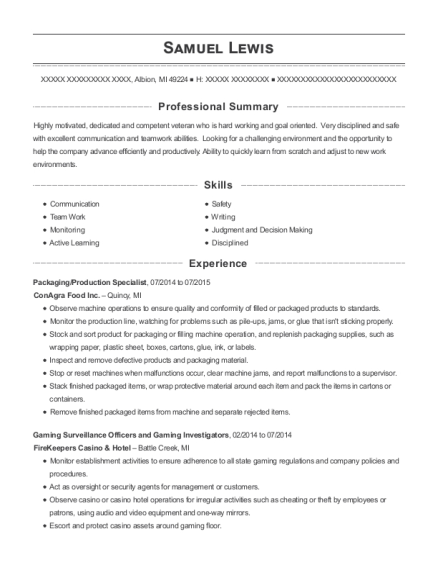Packaging resume example Michigan