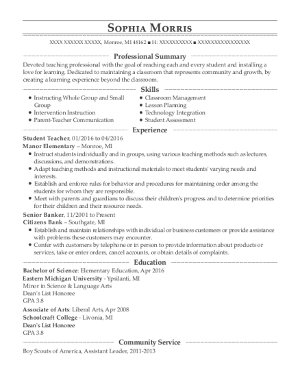 Student Teacher resume example Michigan