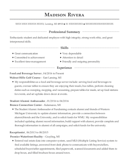 Food and Beverage Server resume format Michigan