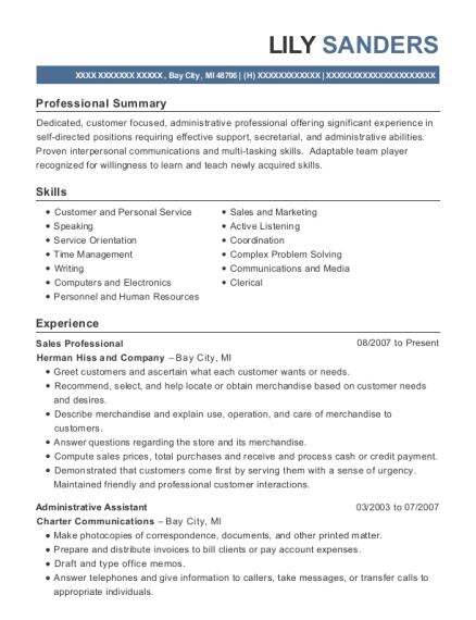 Sales Professional resume format Michigan