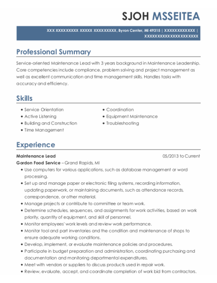 Maintenance Lead resume template Michigan