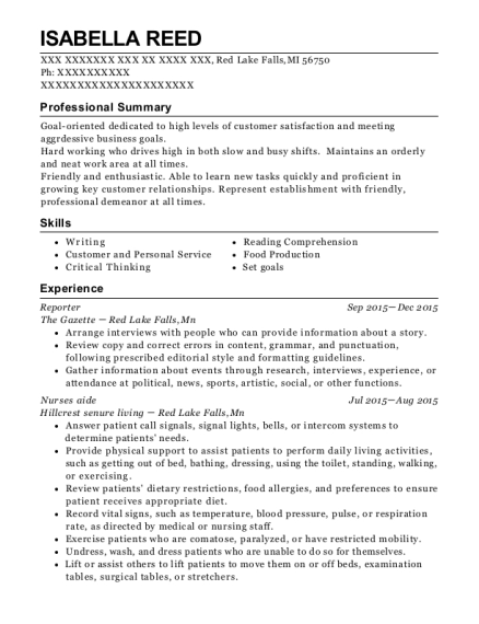 Reporter resume example Michigan