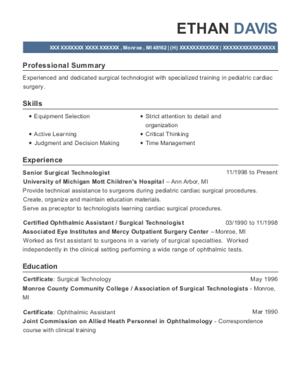 Senior Surgical Technologist resume example Michigan