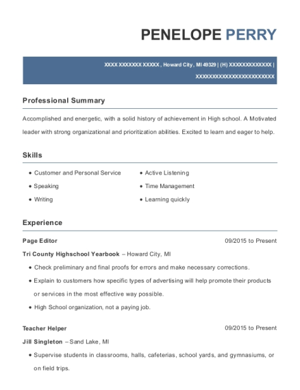 Page Editor resume format Michigan