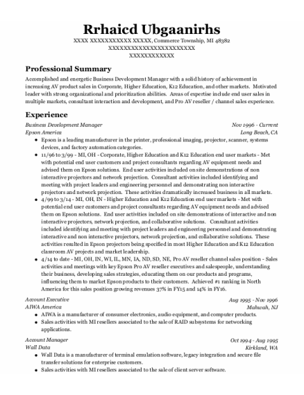 Business Development Manager resume example Michigan