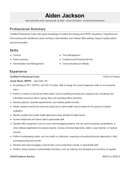 Certified Professional Coder resume example Michigan