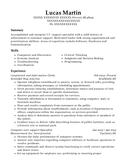 receptionist and Information Clerks resume format Michigan