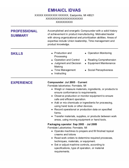 Compounder resume example Michigan