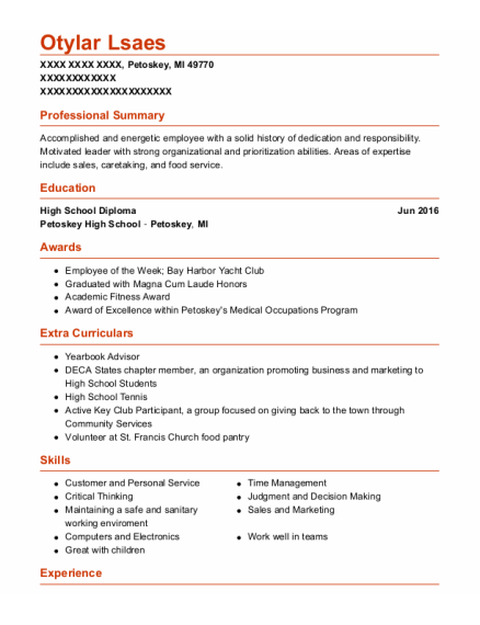 Camp Counselor resume format Michigan