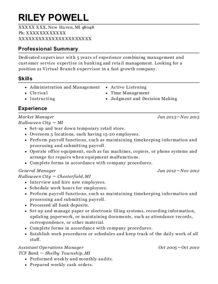 Market Manager resume template Michigan