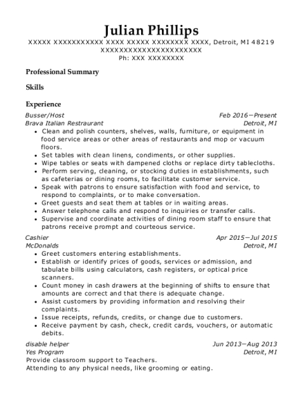 Busser resume example Michigan
