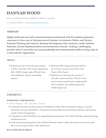 Sr Project Manager HR resume example Michigan
