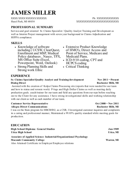 Sr Claims Specialist resume template Michigan