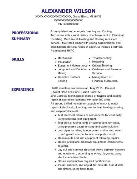 HVAC maintenance technician resume sample Michigan