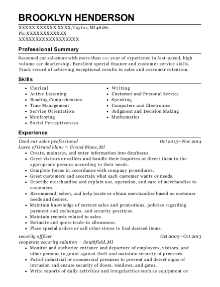 Used car sales professional resume format Michigan
