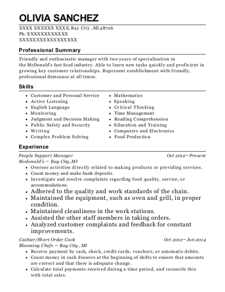 People Support Manager resume format Michigan