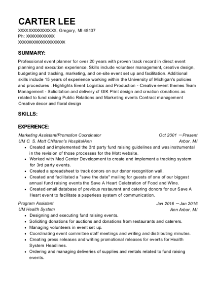Marketing Assistant resume sample Michigan