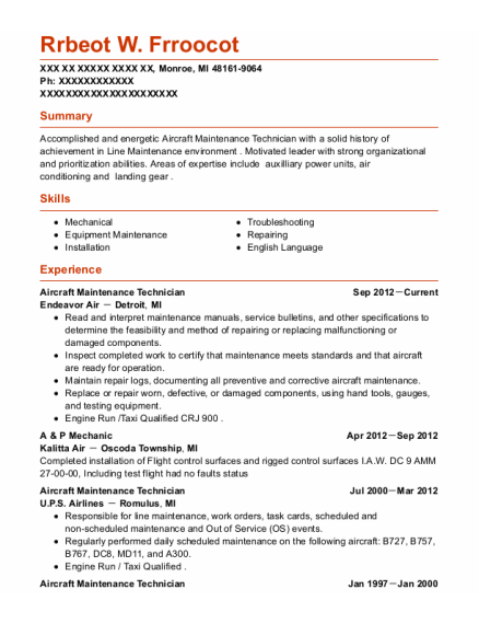 Aircraft Maintenance Technician resume sample Michigan