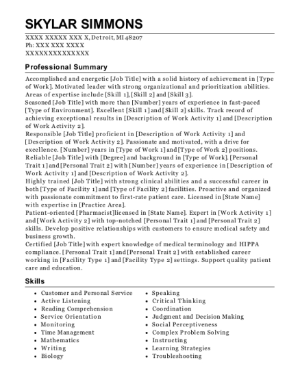 LPN Charge Nurse resume template Michigan