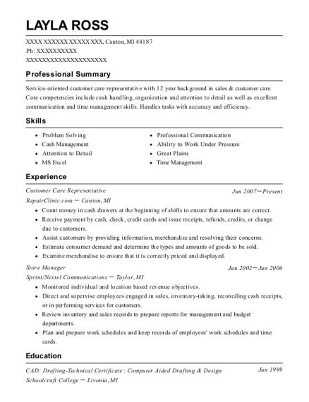 Customer Care Representative resume template Michigan