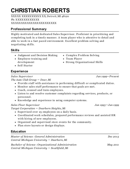 Sales Supervisor resume format Michigan