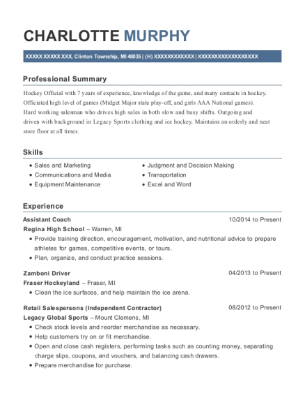 Assistant Coach resume example Michigan
