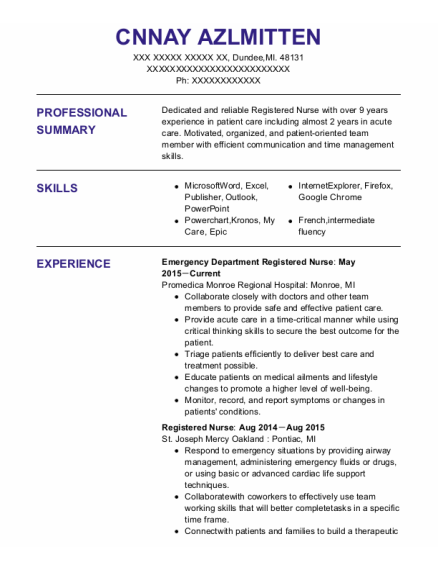 Emergency Department Registered Nurse resume template Michigan