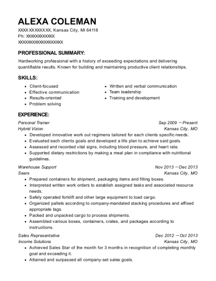 Personal Trainer resume template Michigan