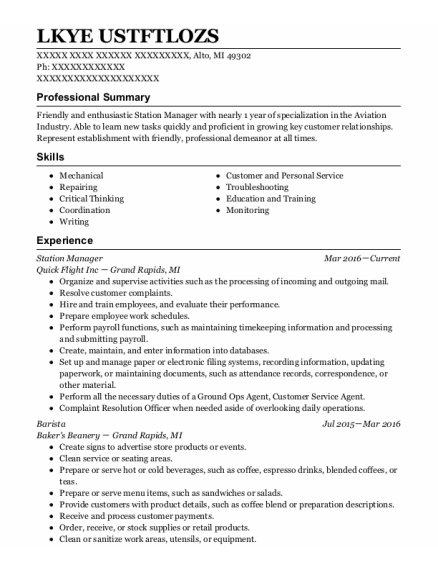 Station Manager resume template Michigan