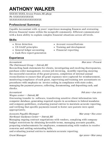 Accountant resume template Michigan