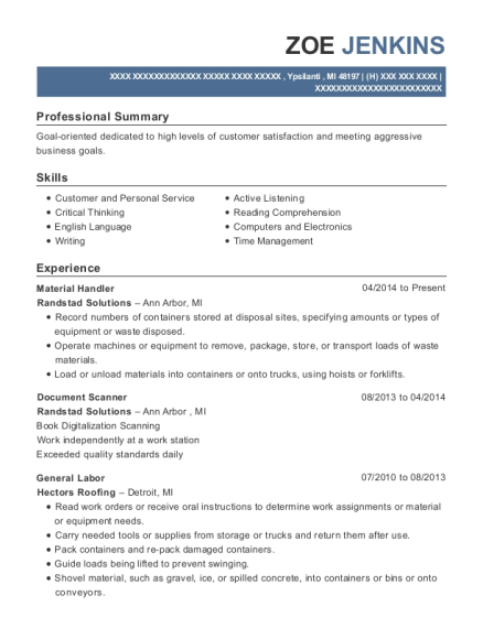 Material Handler resume template Michigan