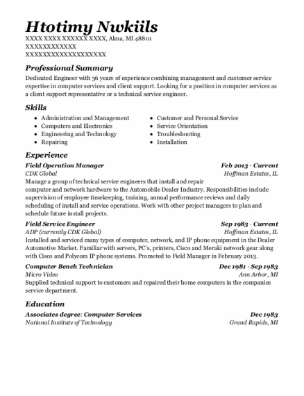 Field Service Engineer resume template Michigan