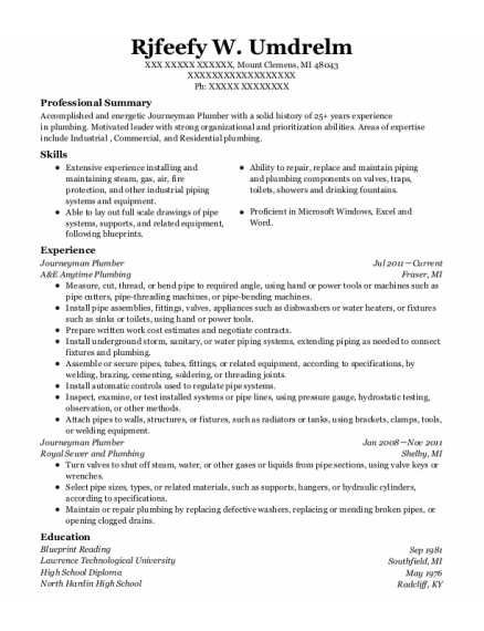 Journeyman Plumber resume template Michigan