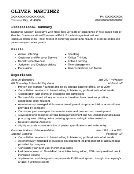 Account Executive resume sample Michigan