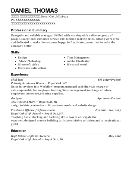 Shift lead resume format Michigan