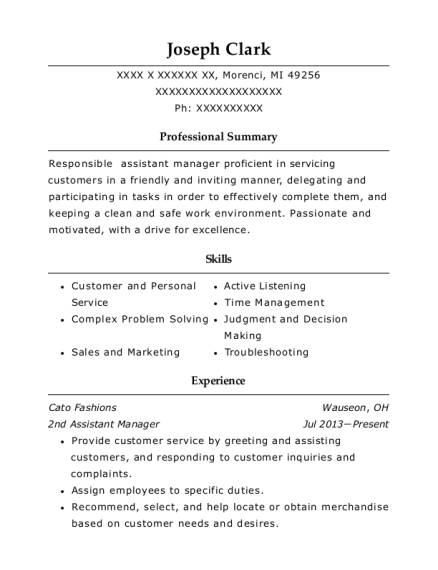 2nd Assistant Manager resume sample Michigan