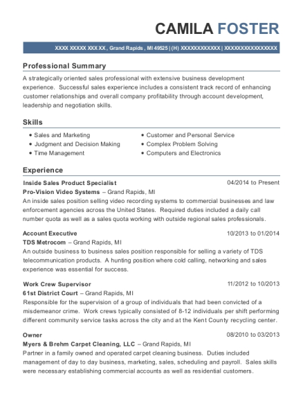 Inside Sales Product Specialist resume template Michigan