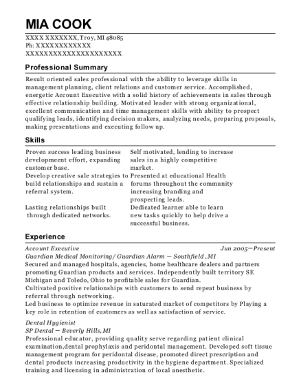 Account Executive resume format Michigan