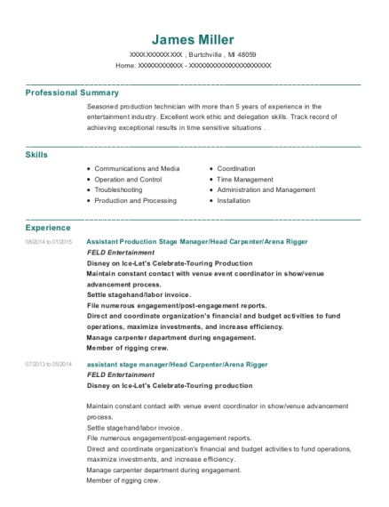 Assistant Production Stage Manager resume format Michigan