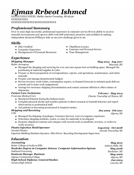 Shipping Manager resume sample Michigan