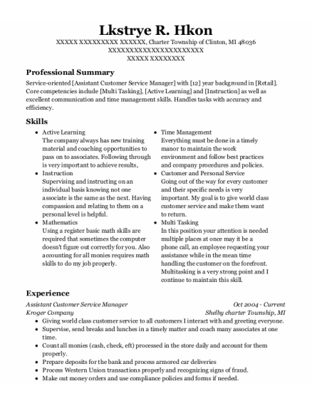Assistant Customer Service Manager resume example Michigan