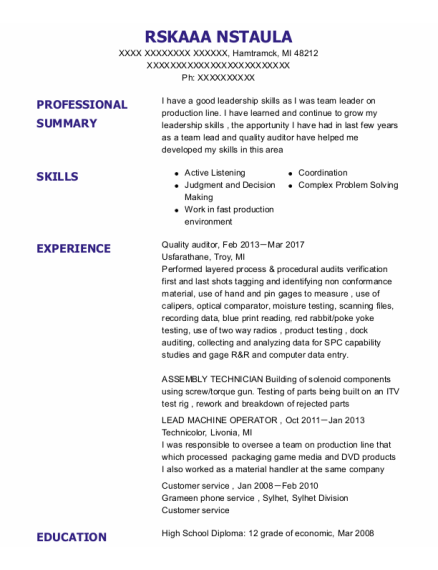 Quality Auditor resume format Michigan