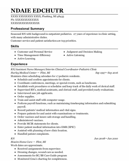 Assistant Nurse Manager resume sample Michigan