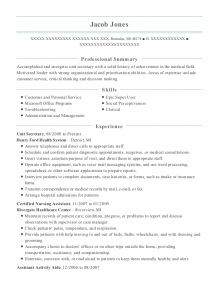 Unit Secretary resume format Michigan