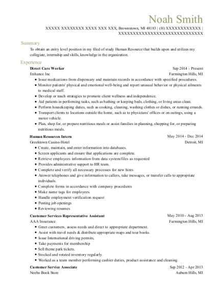 Direct Care Worker resume format Michigan