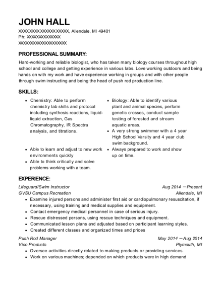 Lifeguard resume format Michigan