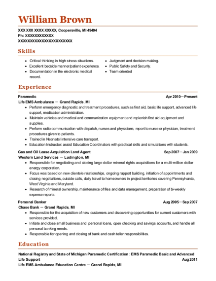 Paramedic resume template Michigan
