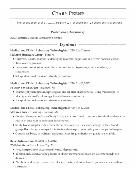 Medical And Clinical Laboratory Technologists resume template Michigan